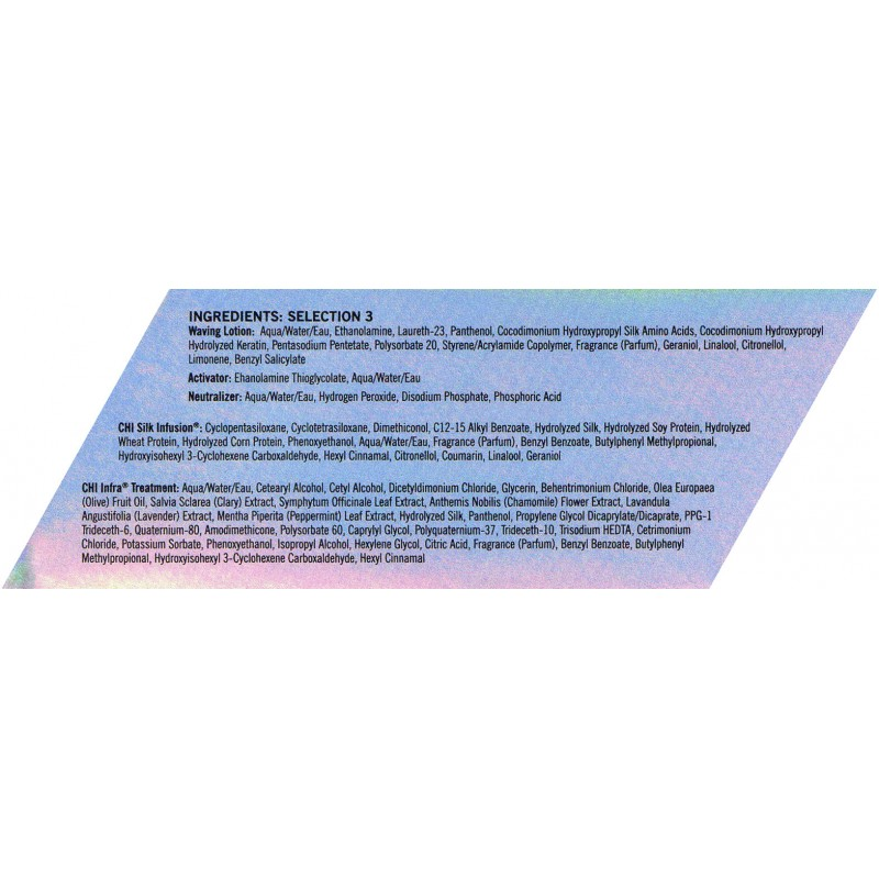 CHI Ionic Permanent Shine Waves Selection 3 Ingredients Перманентная завивка для волос Состав 3: Ингредиенты